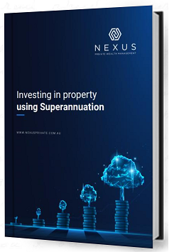 Dark blue eBook with white background and this text on the cover: 'Investing in Property Using Superannuation'