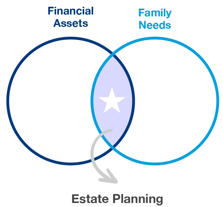 Venn diagram of overlapping financial assets and family needs and estate planning located at their intersection.