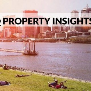Brisbane commercial properties and lake in front