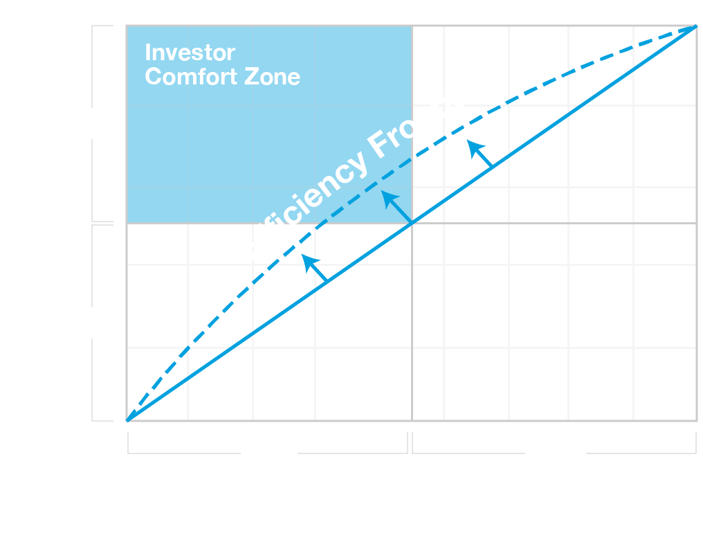 Graph showing the investor comfort zone and efficiency frontier.