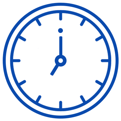 Navy blue icon of a clock.