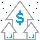 An icon indicating financial growth with arrows and dollar signs.